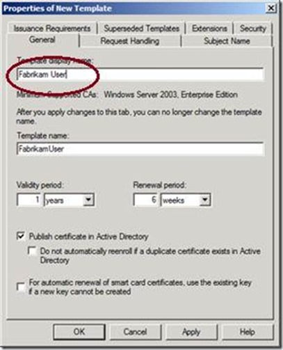 Active directory certificate services adcs jorges quest for change the template display name to fabrikam user yelopaper Image collections
