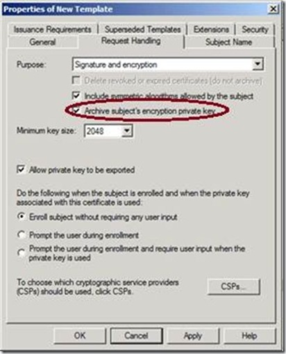 Active directory certificate services adcs jorges quest for navigate to the request handling tab and select archive subjects encryption private key to enable key archival for this template yadclub Choice Image