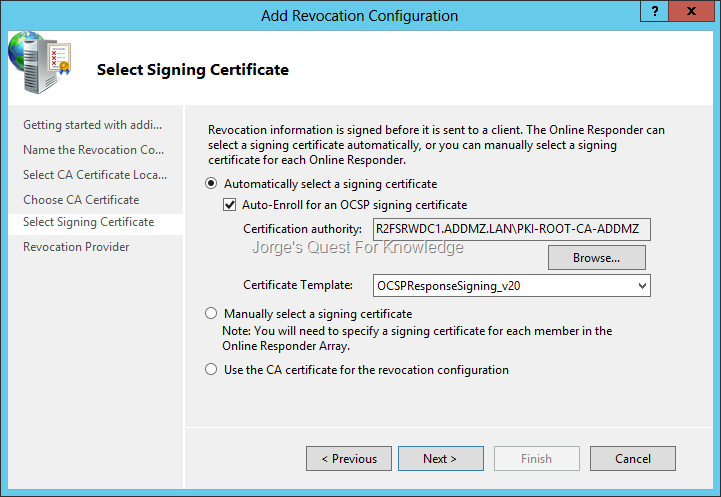 Active directory certificate services adcs jorges quest for figure 1 configuring revocation configuration and choosing to automatically select a signing certificate yadclub Images