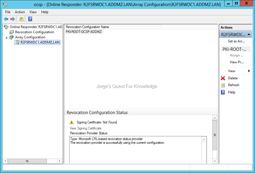 Active directory certificate services adcs jorges quest for figure 4 the online responder configuration error signing certificate not found yelopaper Choice Image
