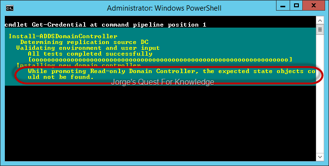2014 06 24 rodc promotion direct or staged fails because of nc figure 1 rodc staged promotion with powershell while promoting read only domain controller the expected state objects could not be found yadclub Images