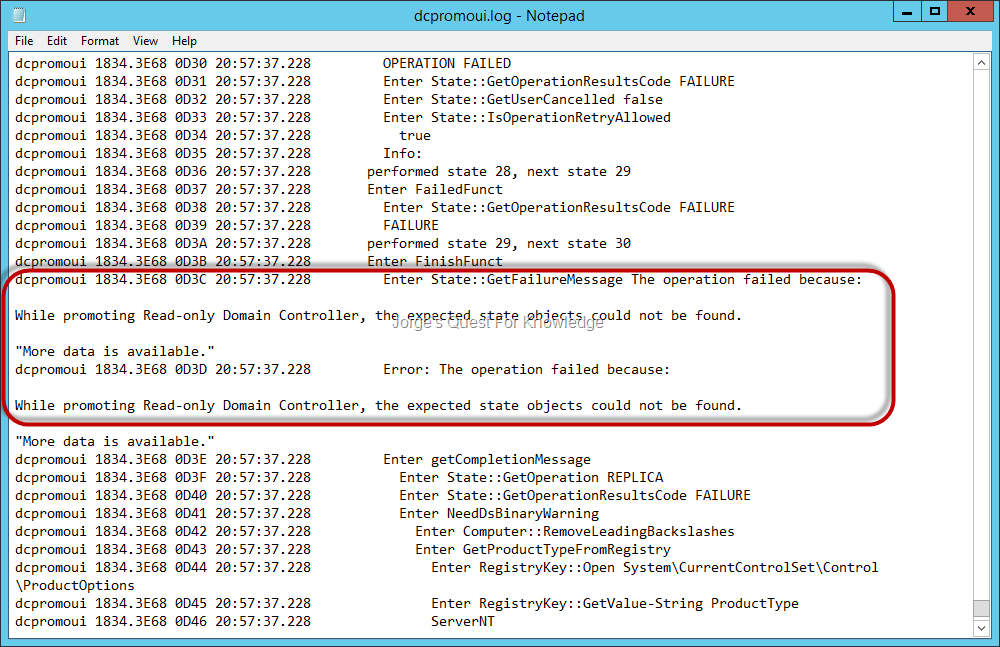 Read only domain controller jorges quest for knowledge log while promoting read only domain controller the expected state objects could not be found yadclub Images
