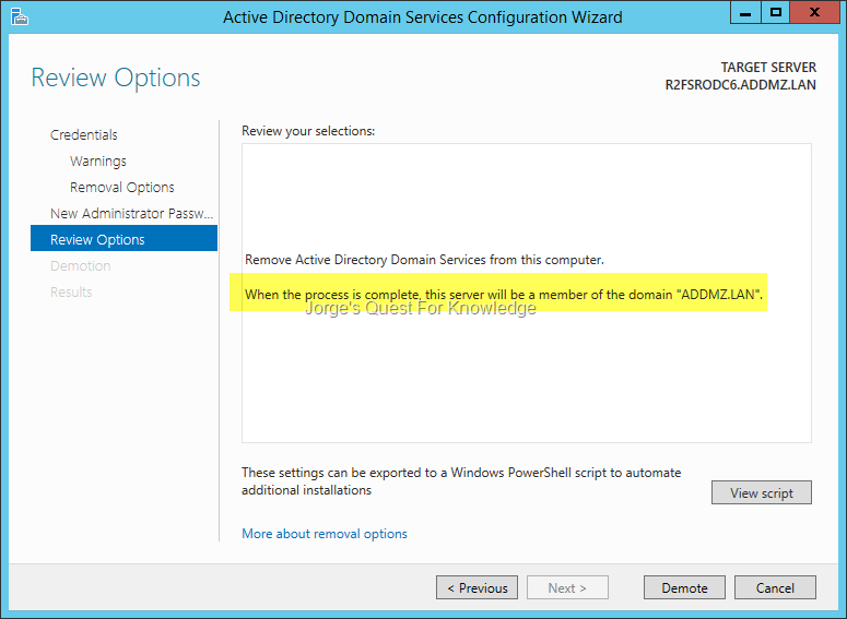 Read only domain controller jorges quest for knowledge figure 3 the active directory domain services configuration wizard choosing whether or not to retain the metadata of the rodc yadclub Images