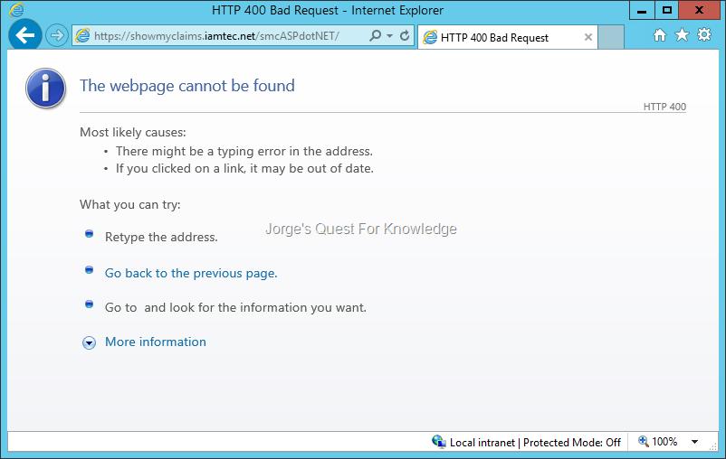 2015-07-10) HTTP Error 400 Bad Request – Error When